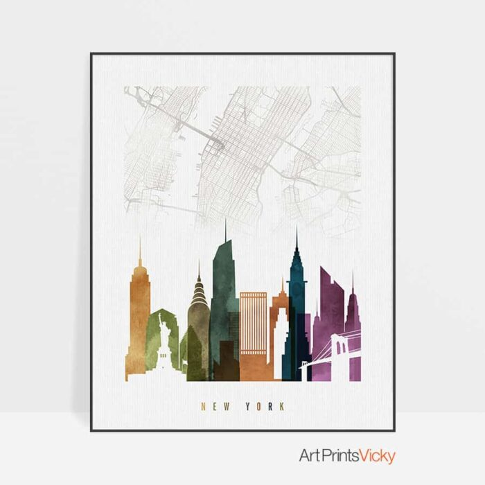 New York map poster watercolor 3