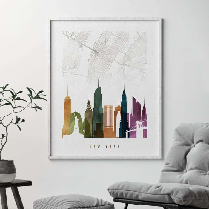 New York map poster watercolor 3 second