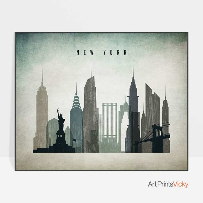 New York skyline landscape distressed 3