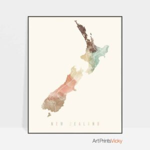 New Zealand map poster pastel cream