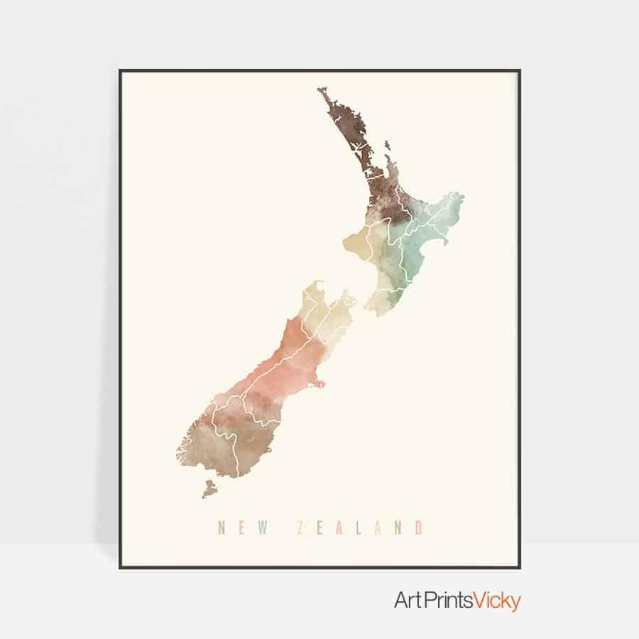New Zealand map poster pastel cream