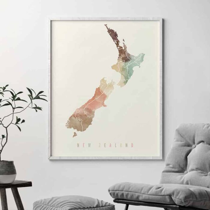 New Zealand map poster pastel cream second