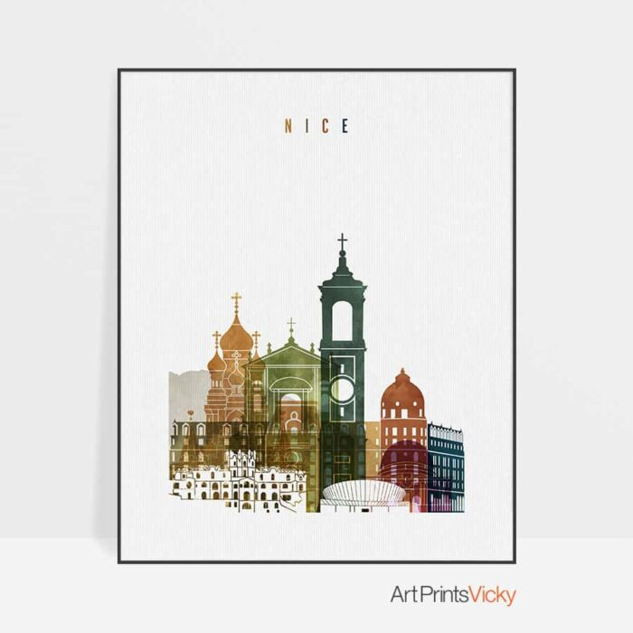Nice France poster watercolor 3