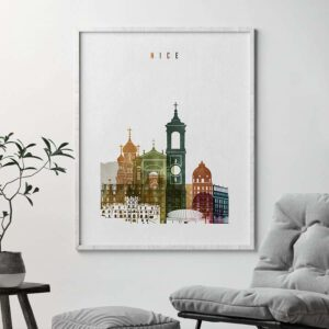 Nice France poster watercolor 3 second