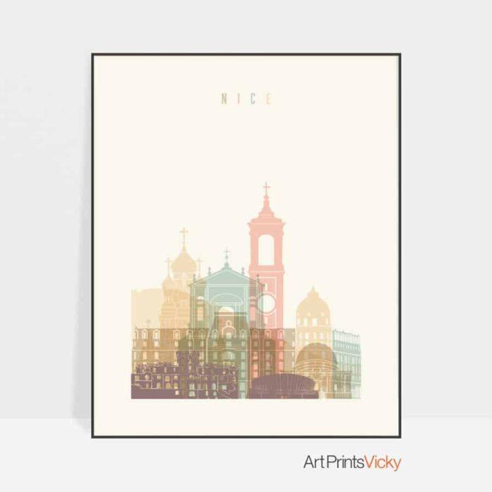 Nice skyline poster pastel cream