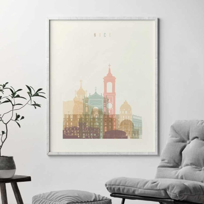 Nice skyline poster pastel cream second