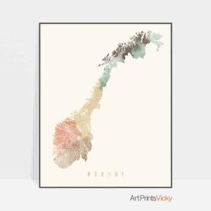 Norway map poster pastel cream