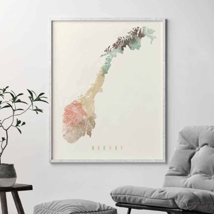 Norway map poster pastel cream second