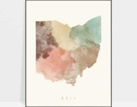 Ohio map print pastel cream