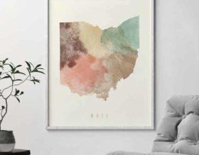 Ohio map print pastel cream second