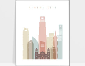 Panama City skyline poster pastel white