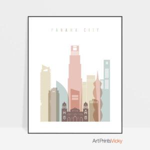 Panama City skyline poster pastel white