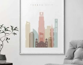 PanamaPanama City skyline poster pastel white second City skyline poster second