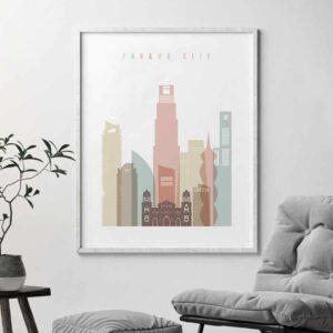 PanamaPanama City skyline poster pastel white second City skyline poster second
