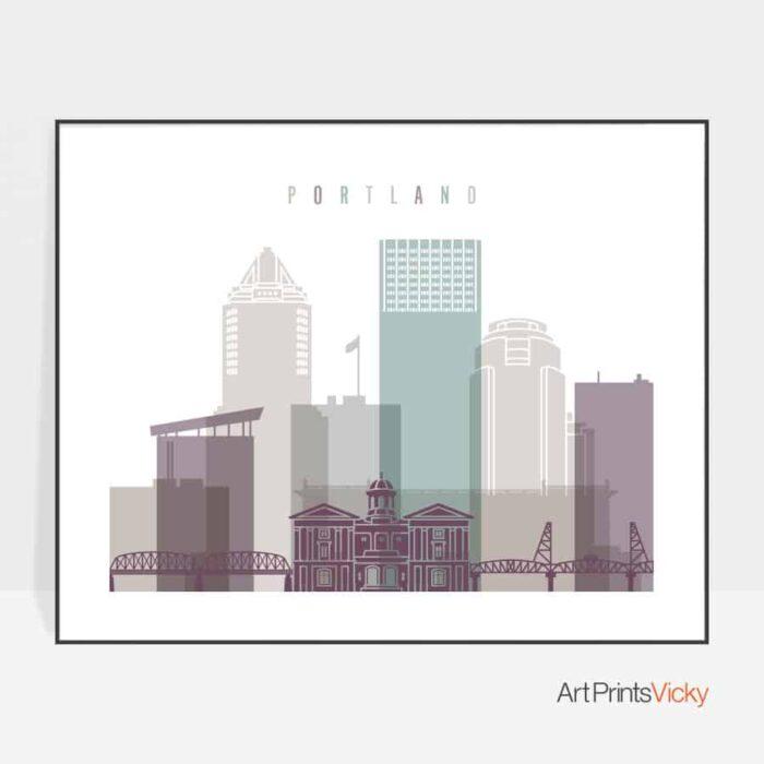 Portland poster landscape pastel 2