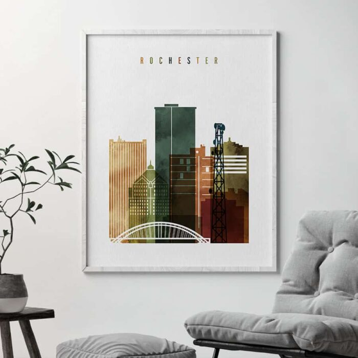 Rochester NY skyline watercolor 3 second