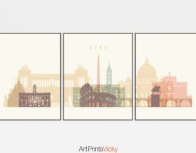 Rome set of 3 prints pastel cream