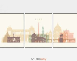 Rome set of 3 prints pastel cream