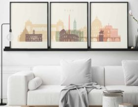 Rome set of 3 prints pastel cream second