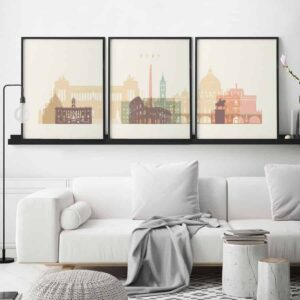 Rome set of 3 prints pastel cream second