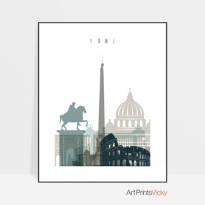 Rome skyline poster earth tones 4
