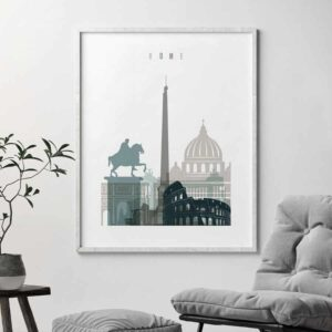 Rome skyline poster earth tones 4 second