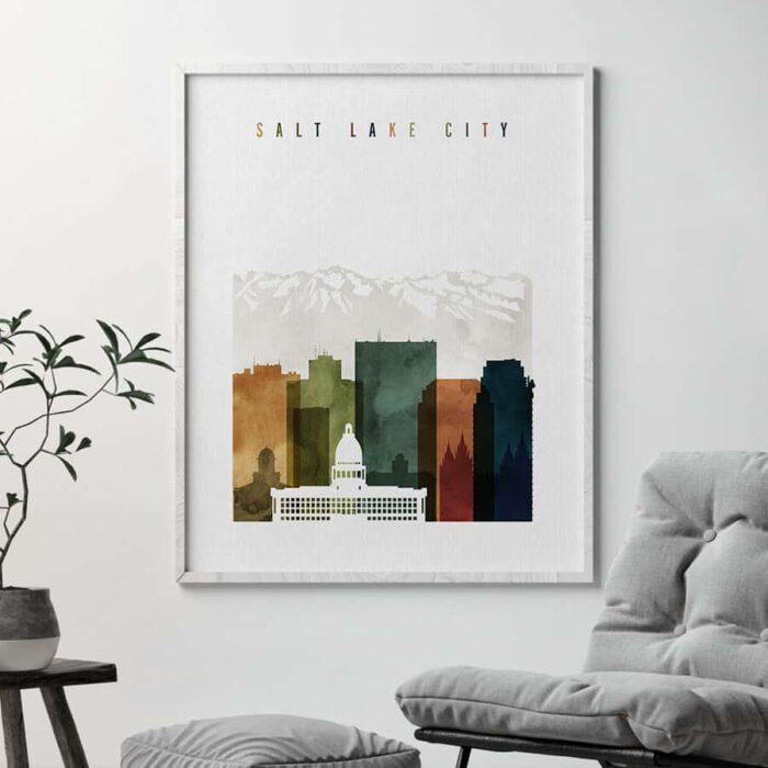 Salt Lake City skyline watercolor 3 second