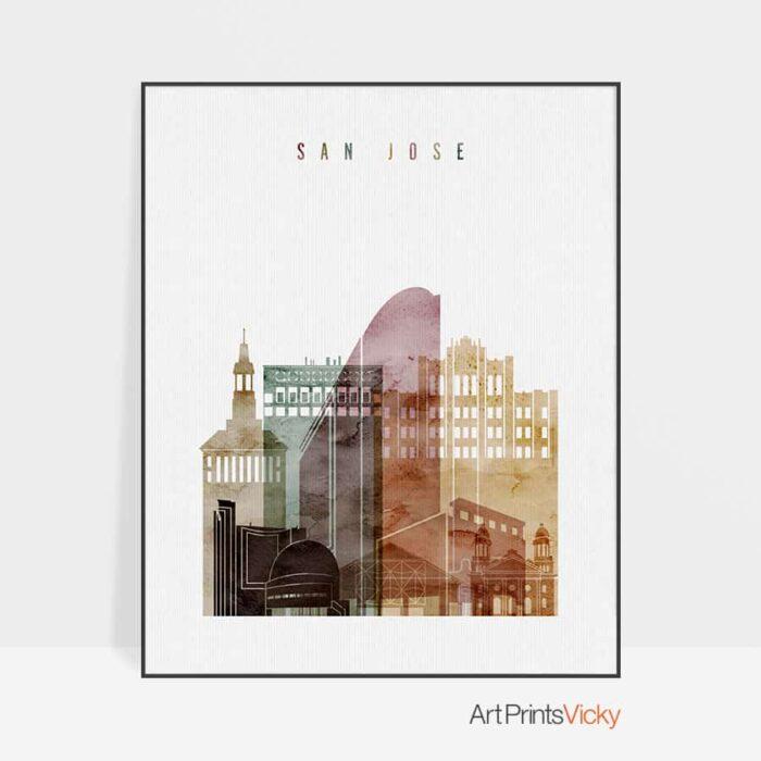 San Jose skyline art watercolor 1