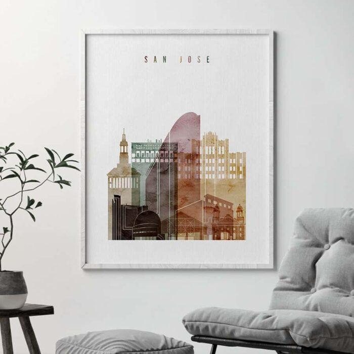 San Jose skyline art watercolor 1 second