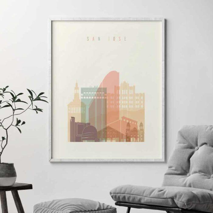 San Jose skyline pastel cream second
