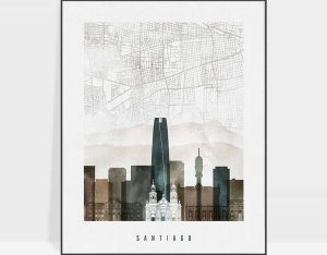 Santiago map poster watercolor 2