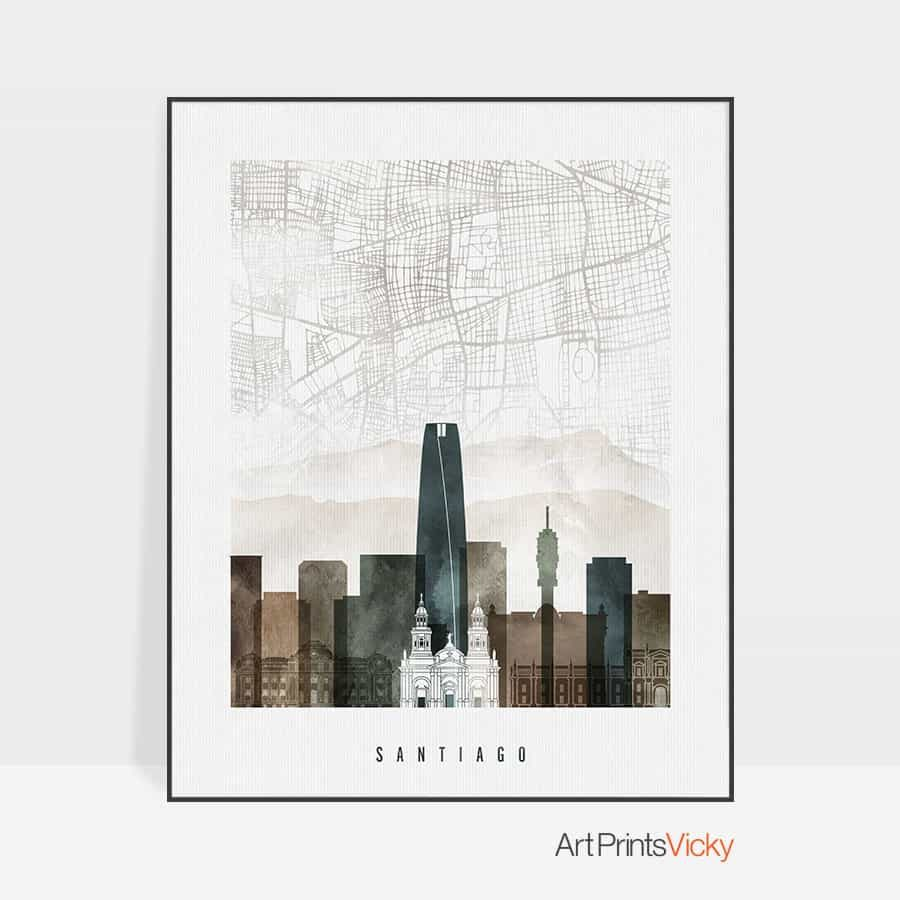 Santiago map poster watercolor 2