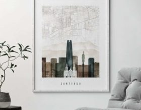Santiago map poster watercolor 2 second