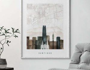 Santiago map poster watercolor 2 second