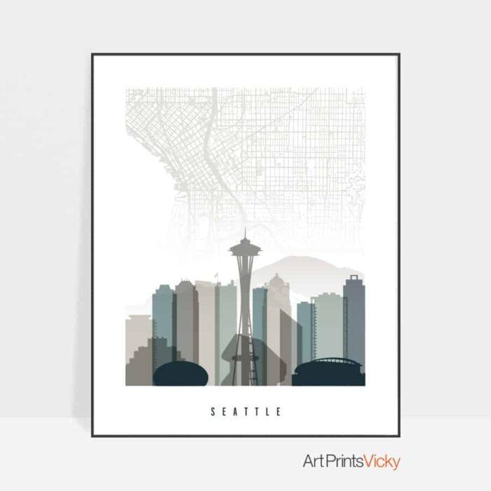 Seattle map skyline art earth tones 4