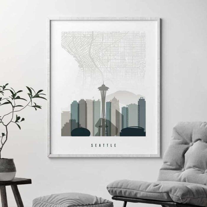 Seattle map skyline art earth tones 4 second