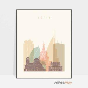 Sofia skyline poster pastel cream