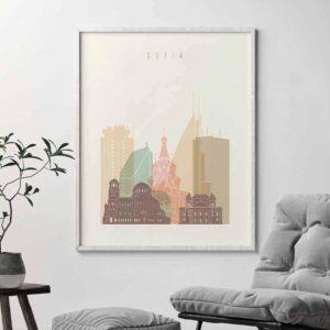 Sofia skyline poster pastel cream second