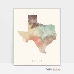 Texas map print pastel cream