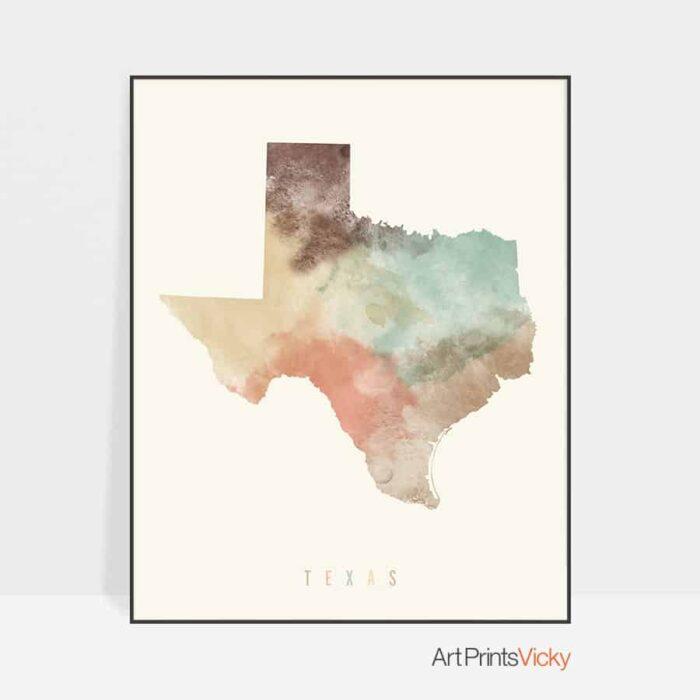 Texas map print pastel cream