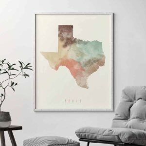 Texas map print pastel cream second