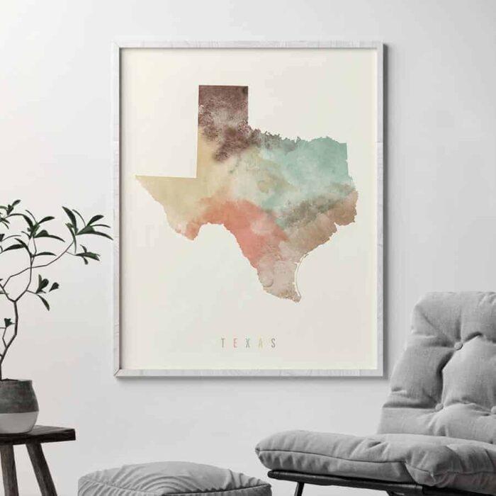 Texas map print pastel cream second