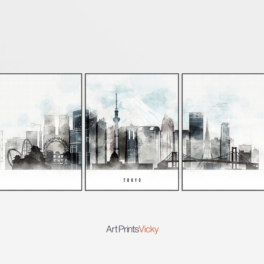 Tokyo Skyline 3 Prints Set Urban