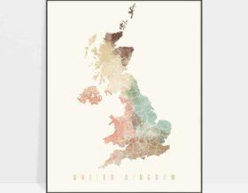 United Kingdom map poster pastel cream