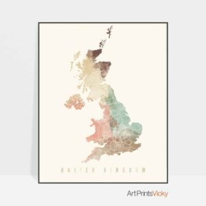 United Kingdom map poster pastel cream