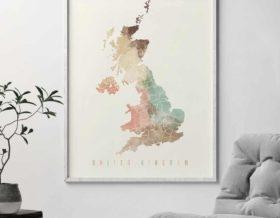 United Kingdom map poster pastel cream second
