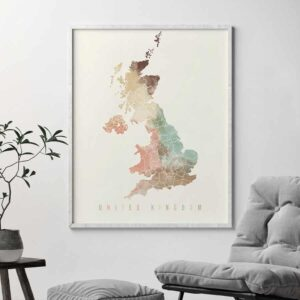 United Kingdom map poster pastel cream second