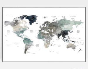 Large world map art