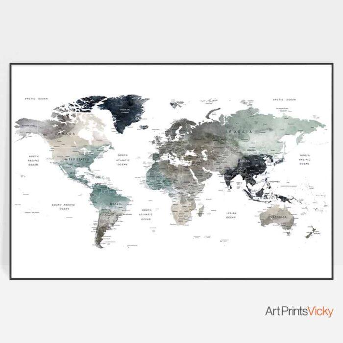 Large world map art print