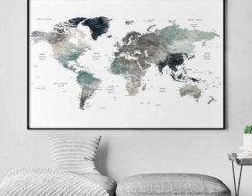 Large world map art second
